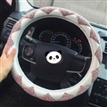 Top Luxury Women Car Steering Wheel Covers Crystal PU Leather 15 inch 38CM - White