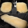 Top Quality Long Wool Universal Car Seat Cushion Sheepskin Fur One Piece Pads 3pcs Set - Beige