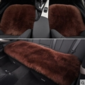 Top Quality Long Wool Universal Car Seat Cushion Sheepskin Fur One Piece Pads 3pcs Set - Coffee