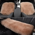 Top Quality Long Wool Universal Car Seat Cushion Sheepskin Fur One Piece Pads 3pcs Set - Red Bean