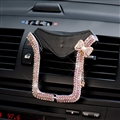 U Shape Universal Car Mobile Phone Holder Crystal Bow Air Vent Mount Clip Stand GPS - Pink