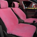 Universal Synthetic Sheepskin Car Seat Cover Sheep Wool Auto Velvet Cushion 6pcs Sets - Pink