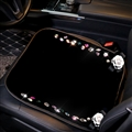 Winter Crystal Plush Car Front Seat Cushion Woman Universal Camellia Pads 1pcs - Black White
