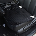 Winter Diamond Plush Car Front Seat Cushion Woman Universal Camellia Pads 1pcs - Black White