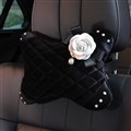 Winter Diamond Plush Car Neck Pillow Woman Universal Camellia Headrest 1pcs - Black White