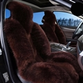Winter Long Wool Auto Cushion Universal Genuine Sheepskin Car Seat Covers 1Piece Front Cover - Coffee