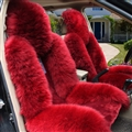 Winter Long Wool Auto Cushion Universal Genuine Sheepskin Car Seat Covers 1Piece Front Cover - Red