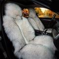 Winter Long Wool Auto Cushion Universal Genuine Sheepskin Car Seat Covers 1Piece Front Cover - White Black