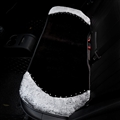Winter Soft Warm Plush Automotive Seat Rabbit Fur Back Interior Styling Crystal Rear Cushion 1PC - Black