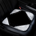 Winter Soft Warm Plush Automotive Seat Rabbit Fur Cover Interior Styling Crystal Front Cushion 1PC - Black