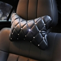 1PCS Plaid Bling Leather Car Neck Pillow Pretty Universal Auto Headrest for Female- Black
