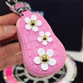 Beautiful Cute Daisy Universal Genuine Leather Auto Key Bags Key Chain - Pink