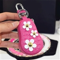 Beautiful Cute Daisy Universal Genuine Leather Auto Key Bags Key Chain - Rose
