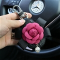 Beautiful Cute Rose Camellia Universal Pearl Leather Auto Key Bags Key Chain - Black