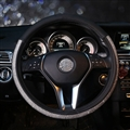 Diamond Nice Pretty PU Leather Vehicle Steering Wheel Covers 15 inch 38CM - Black