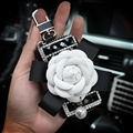 Elegant Pretty Camellia Universal Bling Leather Auto Key Bags Key Chain - Black