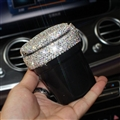 Portable Car Ashtray with Led Light Crystal Bling Bling Car Ash Tray Storage Cup Holder for Girls Woman - Black