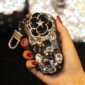 Pretty Cute Camellia Universal Bling Leather Auto Key Bags Key Chain - Black