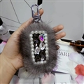 Pretty Cute Plush Universal Bling Leather Auto Key Bags Key Chain - Grey