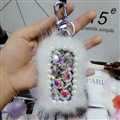 Pretty Cute Plush Universal Bling Leather Auto Key Bags Key Chain - White