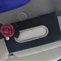 Rose Camellia Bling Leather Car Tissue Paper Box Holder Case Seat Back Hanging Tissue Bag - Black