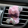 Abs Bear Beautiful Gorgeous Diamonds 1pcs Car Air-Purify Clip Auto Air Out Perfume Clip - Pink