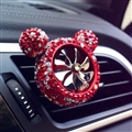 Abs Crystal Bling Bling 1pcs Car Air-Purify Clip Auto Air Out Perfume Clip - Red