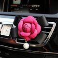 Abs Leather Beautiful Gorgeous Camellia 1pcs Car Air-Purify Clip Auto Air Out Perfume Clip - Rose