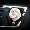 Abs Leather Beautiful Gorgeous Camellia 1pcs Car Air-Purify Clip Auto Air Out Perfume Clip - White