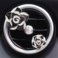 Abs Metal Beautiful Gorgeous Camellia 2pcs Car Air-Purify Clip Auto Air Out Perfume Clip - Black