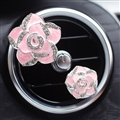 Abs Metal Beautiful Gorgeous Camellia 2pcs Car Air-Purify Clip Auto Air Out Perfume Clip - Pink