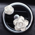 Abs Metal Beautiful Gorgeous Camellia 2pcs Car Air-Purify Clip Auto Air Out Perfume Clip - White