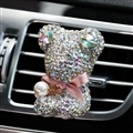 Bling Bear Beautiful Gorgeous Diamonds 1pcs Car Air-Purify Clip Auto Air Out Perfume Clip - White