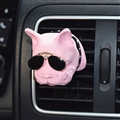 Cute Ornaments French Bulldog Car Decoration Air Freshener Solid Perfume Dog With Sunglasses - Pink