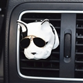 Cute Ornaments French Bulldog Car Decoration Air Freshener Solid Perfume Dog With Sunglasses - White Black