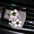 Daisy Crystal Bling Bling 1pcs Car Air-Purify Clip Auto Air Out Perfume Clip - AB White