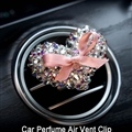 Heart Crystal Bling Bling 1pcs Auto Air-Purify Clip Auto Air Out Perfume Clip - White