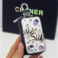 Luxurious Zebra Crystal Genuine Leather Auto Key Bags Key Chain - Black