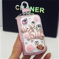 Luxurious Zebra Crystal Genuine Leather Auto Key Bags Key Chain - Pink