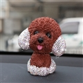 Resin Crystal Cartoon Teddy Shaking Head Car Ornaments Puppy Figurines Dog Doll Toys Car Styling - Brown