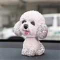 Resin Crystal Cartoon Teddy Shaking Head Car Ornaments Puppy Figurines Dog Doll Toys Car Styling - White