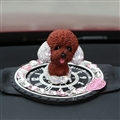 Resin Crystal Cartoon Teddy Shaking Head Car Ornaments Puppy Figurines With Anti-Slip Mat Car Styling - Brown