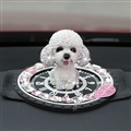 Resin Crystal Cartoon Teddy Shaking Head Car Ornaments Puppy Figurines With Anti-Slip Mat Car Styling - White