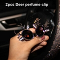 Abs Diamonds Bling Deer 1pcs Car Air-Purify Clip Auto Air Out Perfume Clip - Purple