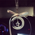 Hanging Pendant Bowknot Star Gorgeous Bling Bling Diamonds Crystal Car Pendant Car Interior Decoration - White