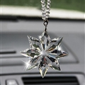 Hanging Pendant Snowflake Brilliant Bling Bling Crystal Car Pendant Car Interior Decoration - White