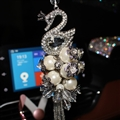 Hanging Pendant Tassels Peacock Pearls Bling Bling Diamonds Crystal Car Pendant Car Interior Decoration - White