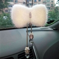 Hanging Pendant White Mink Fur Brilliant Bling Bling Diamonds Crystal Car Pendant Car Interior Decoration - White
