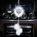 Hanging Pendant White Mink Fur Fox Bling Bling Diamonds Crystal Auto Pendant Car Interior Decoration - White