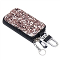 Luxurious Beautiful Crystal Genuine Leather Auto Key Bags Key Chain - Purple